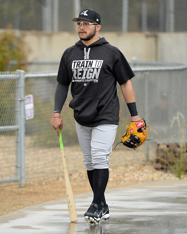GLENDALE, ARIZONA - FEBRUARY 18:  Carlos Sanchez #5 of the Chicago White Sox looks on during spring training workouts on February 18, 2017 at Camelback Ranch in Glendale Arizona.  (Photo by Ron Vesely)   Subject:  Carlos Sanchez