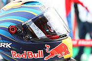 The race helmet of retiree #99 Jorge Lorenzo, Spanish: Repsol Honda Team during the Gran Premio Motul de la Comunitat Valenciana at Circuito Ricardo Tormo Cheste, Valencia, Spain on 17 November 2019.