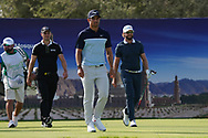 Martin Kaymer (GER), Adrien Saddier (FRA) and Kalle Samooja (FIN) on the 17th during Round 4 of the Oman Open 2020 at the Al Mouj Golf Club, Muscat, Oman . 01/03/2020<br /> Picture: Golffile   Thos Caffrey<br /> <br /> <br /> All photo usage must carry mandatory copyright credit (© Golffile   Thos Caffrey)