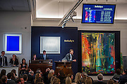 Sotheby's sale of post-war and contemporary art - highlights include: a group of works from an Important Swedish Private Collection, including Lucio Fontana's rarely seen masterwork, Concetto Spaziale, Attese (1965) Estimate £5,000,000 — 7,000,000, and Robert Rauschenberg's Untitled (Small oil on canvas #4) (1963) Estimate £800,000 — 1,200,000; s a self- portrait diptych by Francis Bacon from 1977 Estimate £13,000,000 — 18,000,000; a monumental and mesmeric Abstraktes Bild by Gerhard Richter Estimate £14,000,000 — 20,000,000 (pictured right); and works by Cy Twombly, Nicolas de Staël, Yves Klein, Jean-Michel Basquiat and Andy Warhol.
