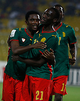 Photo: Steve Bond/Richard Lane Photography.<br /> Cameroun v Zambia. Africa Cup of Nations. 26/01/2008. Samuel Eto'o (L) and Joseph desire Job (C) celebrate