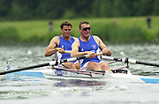 2002 FISA World Cup. Hazewinkel. BEL.       Friday  14/06/2002     .email images@Intersport-images.com.[Mandatory Credit: Peter Spurrier/Intersport Images]  .                                 /06/2002.Rowing    .GBR M2-.  Stroke. Matthew PINSENT and James CRACKNELL Rowing, FISA WC.Hazenwinkel, BEL
