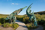 Modern sculpture in the Unesco world heritage sight L´Anse aux Meadows only viking sight in America, Newfoundland, Canada