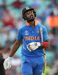 India's KL Rahul reacts after being bowled by New Zealand's Trent Boult during the ICC Cricket World Cup Warm up match at The Oval, London.