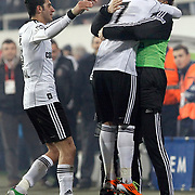 Besiktas's Ismail KOYBASI (L) and goalkeeper Rustu RENCBER (R), Ricardo QUARESMA celebrate victory during their Turkey Cup quarter final soccer match Besiktas between Gaziantepspor BSB at the Inonu stadium in Istanbul Turkey on Wednesday 02 February 2011. Photo by TURKPIX
