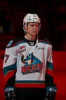 KELOWNA, BC - FEBRUARY 28: Jonas Peterek #27 of the Kelowna Rockets lines up for the national anthem against the Everett Silvertips at Prospera Place on February 28, 2020 in Kelowna, Canada. (Photo by Marissa Baecker/Shoot the Breeze)