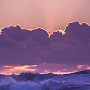 The last of the day's rays cast over these winter waves at Montana de Oro California State Beach near San Luis Obispo.