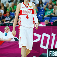 08 August 2012: Russia Alexey Shved rests during 83-74 Team Russia victory over Team Lithuania, during the men's basketball quarter-finals, at the 02 Arena, in London, Great Britain.