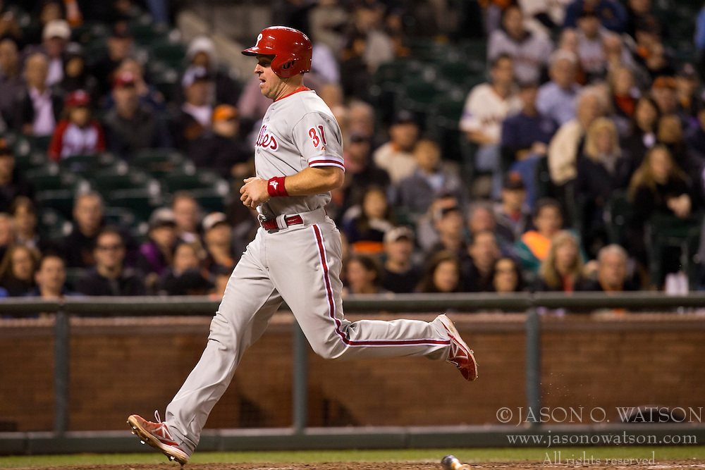 SAN FRANCISCO, CA - MAY 06: Erik Kratz #31 of the Philadelphia Phillies scores a run against the San Francisco Giants during the ninth inning at AT&T Park on May 6, 2013 in San Francisco, California. (Photo by Jason O. Watson/Getty Images) *** Local Caption *** Erik Kratz