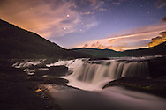 A somber early twilight envelops the last day of summer at Sandstone Falls, West Virginia.