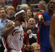 MORNING JOURNAL/DAVID RICHARD.LeBron James pumps his fist after missing a layup while being fouled last night against Detroit.