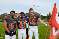 KELOWNA, BC - OCTOBER 6: Kian Ishani #8, Liam Johnstone #40 and Nate Adams #41 of Okanagan Sun stand on the field after the win against the VI Raiders at the Apple Bowl on October 6, 2019 in Kelowna, Canada. (Photo by Marissa Baecker/Shoot the Breeze)