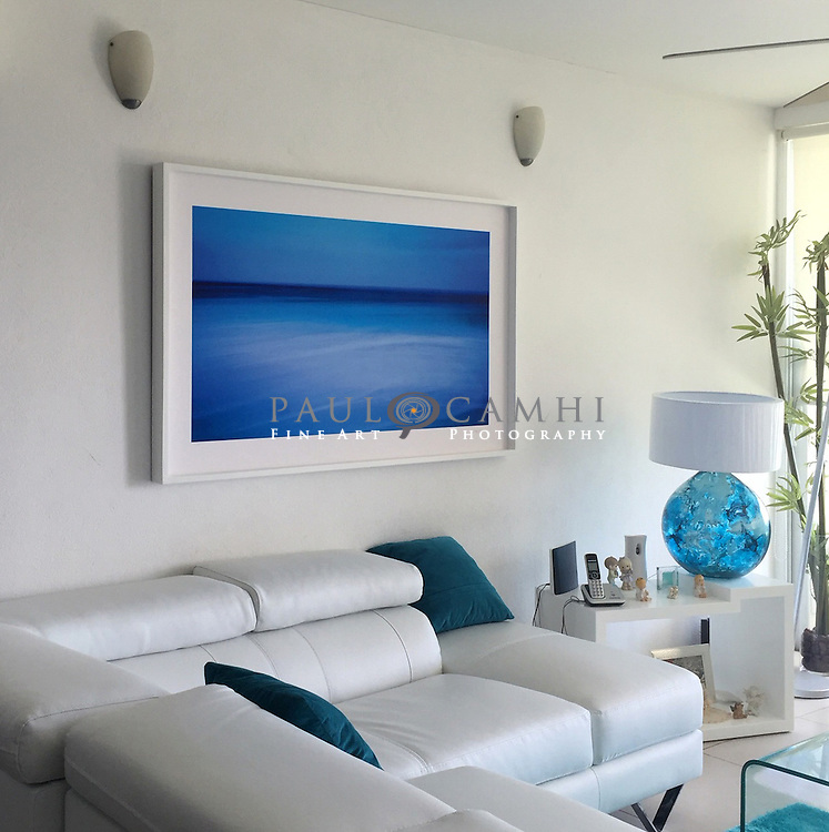 Limited edition Fine Art Photography, pigment ink giclée print, dated and signed photography for decoration. Mar de Azules. Cancún, Quintana Roo. México.