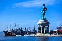Java, East Java, Surabaya. Headquarters of the Indonesian navy (Angkatan Laut) in Surabaya. The Jalesveva Jayamahe monument is 30.8 m tall, standing on top of a 26.1 m high building.