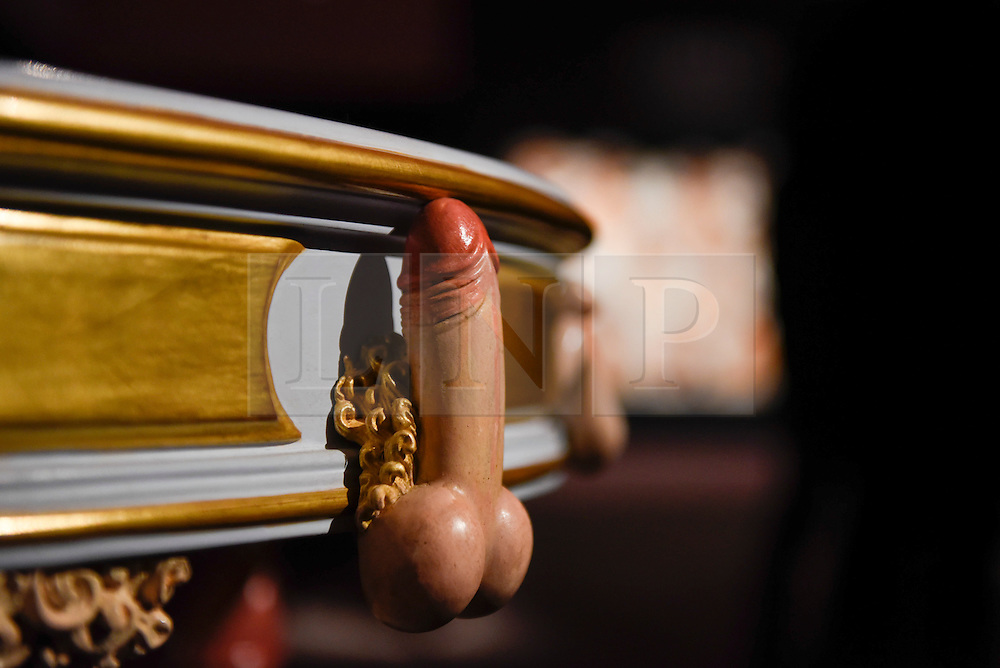 """© Licensed to London News Pictures. 10/02/2017. London, UK.  Detail from """"A Modern Table"""", supposedly delivered to Catherine the Great (est. GBP15-20k) on display at the preview of the """"Erotic: Passion & Desire"""" sale at Sotheby's in New Bond Street.  The sale, which will take place on 16 February, encompasses representations of love and sex from antiquity to the present day.  Photo credit : Stephen Chung/LNP"""