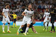 GOAL / CELE - Toby Alderweireld of Tottenham Hotspur celebrates after scoring from a header from a corner to score his sides 1st goal to make it 1-2. UEFA Champions league match, group E, Tottenham Hotspur v AS Monaco at Wembley Stadium in London on Wednesday 14th September 2016.<br /> pic by John Patrick Fletcher, Andrew Orchard sports photography.
