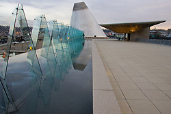 "Reflecting pool outside Museum of Glass, ""Hot Shop"" cone in distance, Tacoma, Washington, USA"