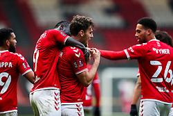 Chris Martin of Bristol City celebrates with Famara Diedhiou after scoring a goal to make it 2-1 - Rogan/JMP - 10/01/2021 - Ashton Gate Stadium - Bristol, England - Bristol City v Portsmouth - FA Cup.
