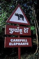 Asie du Sud Est, Cambodge, Province de Siem Reap, Angkor, Patrimoine Mondial de l'UNESCO en 1992, attention elephant  // Southeast Asia, Cambodia, Siem Reap Province, Angkor site, Unesco world heritage since 1992, carefull elephant signboard
