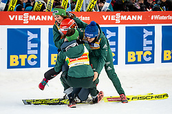 Anna Rupprecht of Germany, Katharina Althaus of Germany, Carina Vogt of Germany and Juliane Seyfarth of Germany celebrate after winning during Team Competition at Day 2 of World Cup Ski Jumping Ladies Ljubno 2019, on February 9, 2019 in Ljubno ob Savinji, Slovenia. Photo by Matic Ritonja / Sportida