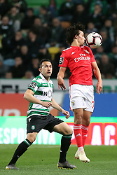 February 3, 2019 - Lisbon, Portugal - Benfica's Portuguese forward Joao Felix (R ) vies with Sporting's defender Jefferson from Brazil during the Portuguese League football match Sporting CP vs SL Benfica at Alvalade stadium in Lisbon, Portugal on February 3, 2019. (Credit Image: © Pedro Fiuza/ZUMA Wire)