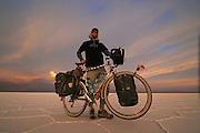 Portrait of Touring Cyclist on the Salar de Uyuni - Bolivia