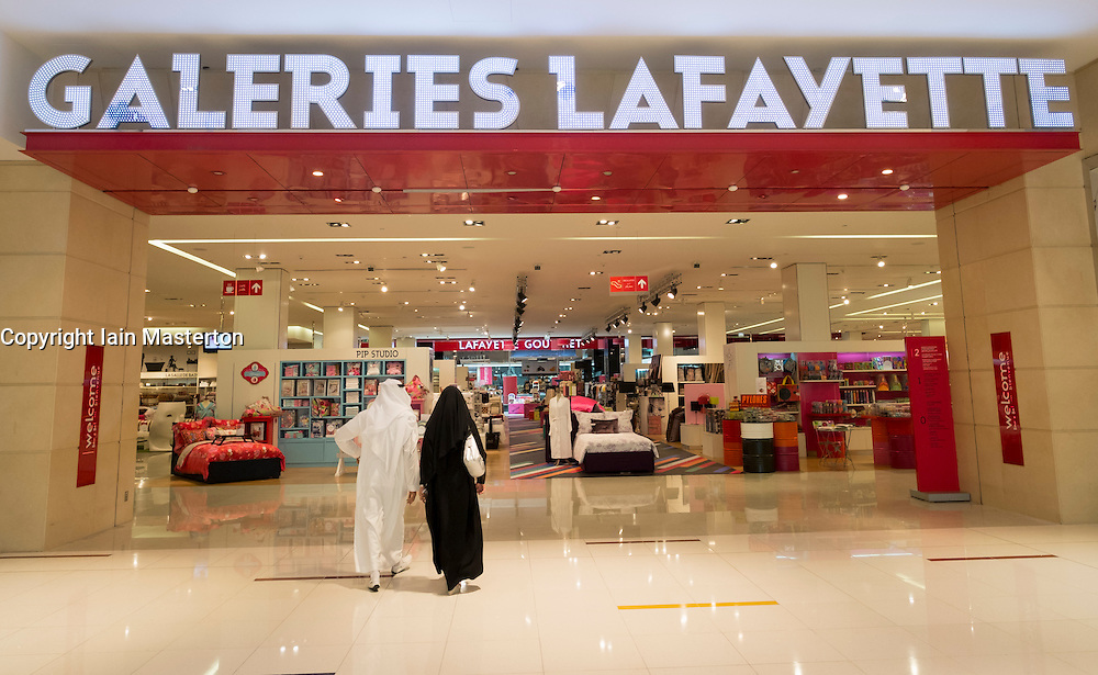 Galleries Lafayette store  inside the Dubai Mall in United Arab Emirates UAE