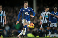 Ross Barkley (Everton) chips the ball in from the penalty spot for Everton's third goal during the Barclays Premier League match between Everton and Newcastle United at Goodison Park, Liverpool, England on 3 February 2016. Photo by Mark P Doherty.