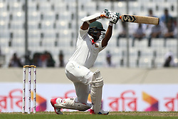 August 29, 2017 - Mirpur, Dhaka, Bangladesh - Bangladeshi cricketer Shakib Al Hasan plays a shot during the third day of the first Test cricket match between Bangladesh and Australia at the Sher-e-Bangla National Cricket Stadium in Dhaka on August 29, 2017. (Credit Image: © Ahmed Salahuddin/NurPhoto via ZUMA Press)