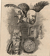 Algernon Borthwick, lst Baron Glenesk (1830-1908) British journalist and proprietor of the newspaper the 'Morning Post'. Conservative Member of  Parliament for South Kensington, London, (1885). Cartoon by Edward Linley Sambourne in the Punch's Fancy Portraits series from 'Punch' (London, 7 January 1882).