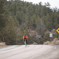 Defending Mt. Taylor Winter Quadrathlon champion Rickey Gates bikes to the first transition point in the Mt. Taylor Winter Quadrathlon Saturday, Feb. 13 in Grants. This year's competition was held virtually with participants completing the course on their own between February 1-14.