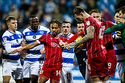 After scoring from the penalty spot to make it 1-1 Bobby Reid of Bristol City holds back Queens Park Rangers players after the goalkeeper Alex Smithies of Queens Park Rangers tries to keep the ball and slow down the restart - Rogan/JMP - 23/12/2017 - Loftus Road - London, England - Queens Park Rangers v Bristol City - Sky Bet Championship.