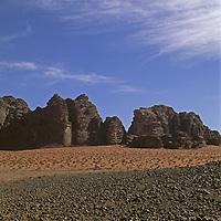 Desert landscape near Jebel Khaz Ali, Wadi Rum., Jordan.