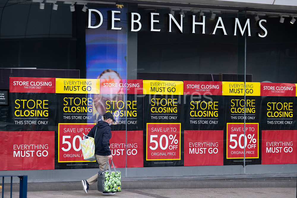 Debenhams department store which will close its doors for good once stock has been sold on 18th January 2020 in Birmingham, United Kingdom. Debenhams has been an ever present feature all over the UK for 242 years, but it has been announced that it will close all of its shops at the cost of around 12,000 jobs, and go into liquidation. This huge blow to the high street has not come as a surprise as the company has been struggling for some time.