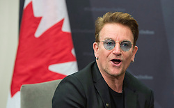 Bono makes a brief statement as he meets with Prime Minister Justin Trudeau at the Global Fund conference Saturday, on September 17, 2016 in Montreal, QC, Canada. Photo by Paul Chiasson/The Canadian Press/ABACAPRESS.COM