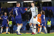Kepa Arrizabalaga of Chelsea (1) and Ross Barkley of Chelsea (8) shaking hands during the Champions League group stage match between Chelsea and PAOK Salonica at Stamford Bridge, London, England on 29 November 2018.