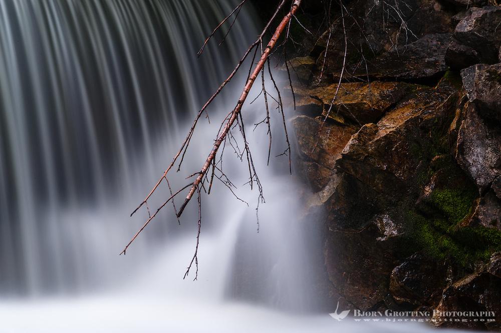Norway, Rogaland, Sandnes. Waterfall at Imsvatnet, long exposure.