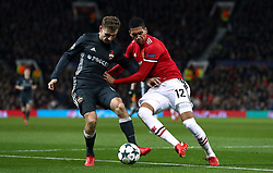 CSKA Moscow's Fedor Chalov and Manchester United's Chris Smalling battle for the ball