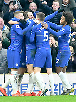 Football - 2018 / 2019 Premier League - Chelsea vs. Huddersfield Town<br /> <br /> Gonzalo Higuaín of Chelsea celebrates scoring his team's fourth goal, at Stamford Bridge.<br /> <br /> COLORSPORT/WINSTON BYNORTH