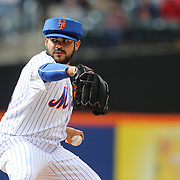 Pitcher Alex Torres, New York Mets, pitching with protective head gear during the New York Mets Vs Atlanta Braves MLB regular season baseball game at Citi Field, Queens, New York. USA. 23rd April 2015. Photo Tim Clayton