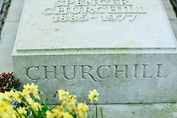 © Licensed to London News Pictures. 22/01/*2015. St Martins, Blazon, Oxfordshire. Grave of Sir Winston Churchill who died 50 years ago on 24th January 2014. Photo credit : MARK HEMSWORTH/LNP