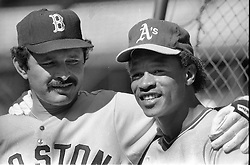 All-Stars Tony Armas and Rickey Henderson before the 1984 All=Star game in S.F. (photo/Ron Riesterer)