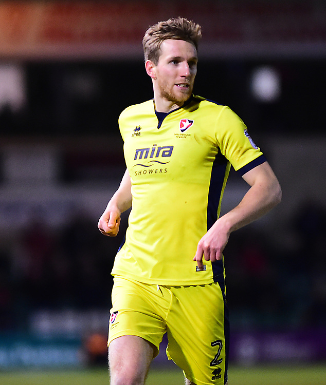 Cheltenham Town's Jamie Grimes<br /> <br /> Photographer Andrew Vaughan/CameraSport<br /> <br /> The EFL Sky Bet League Two - Lincoln City v Cheltenham Town - Tuesday 13th February 2018 - Sincil Bank - Lincoln<br /> <br /> World Copyright © 2018 CameraSport. All rights reserved. 43 Linden Ave. Countesthorpe. Leicester. England. LE8 5PG - Tel: +44 (0) 116 277 4147 - admin@camerasport.com - www.camerasport.com