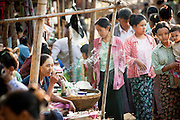 A morning market in the new town of Bagan, Myanmar
