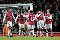 Photo: Olly Greenwood.<br />Arsenal v Charlton Athletic. The Barclays Premiership. 02/01/2007. Arsenal's Robin Van Persie celebrates scoring his 2nd goal with his team mates