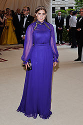 Princess Beatrice of York walking the red carpet at The Metropolitan Museum of Art Costume Institute Benefit celebrating the opening of Heavenly Bodies : Fashion and the Catholic Imagination held at The Metropolitan Museum of Art  in New York, NY, on May 7, 2018. (Photo by Anthony Behar/Sipa USA)