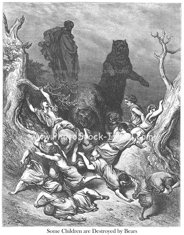 The Children Destroyed by Bears [The bears savaging the youths at Elisha's command] 2 Kings 2:23-24 From the book 'Bible Gallery' Illustrated by Gustave Dore with Memoir of Dore and Descriptive Letter-press by Talbot W. Chambers D.D. Published by Cassell & Company Limited in London and simultaneously by Mame in Tours, France in 1866