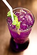 Pea Flower drink at Kopi Tiam restaurant in the Sino-Portuguese Colonial Quarter, Phuket