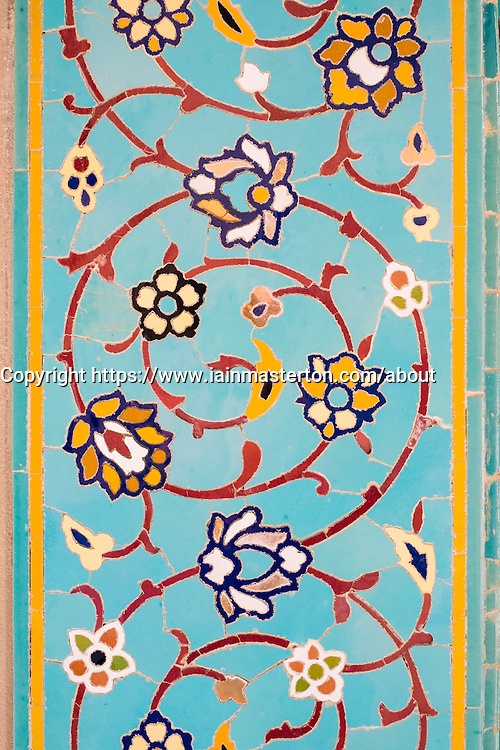 Detail of ornate decoration on wall of Sultan Qaboos Grand Mosque in Muscat Oman Middle East