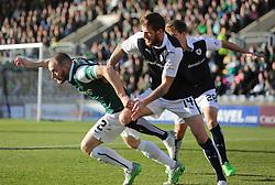 Hibernian's David Gray and Raith Rovers Iain Davidson. <br /> Raith Rovers 1 v 2 Hibernian, Scottish Championship game played 24/10/2015 at Starks Park.